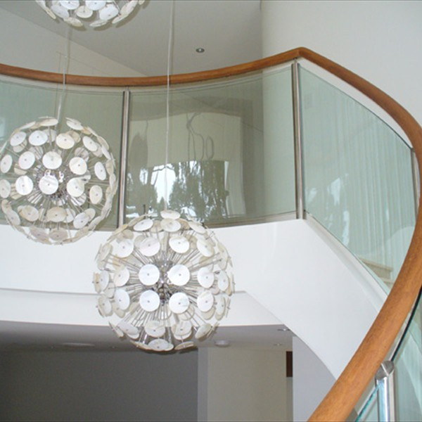 Curved glazed stainless steel balustrade